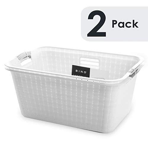 Bino Woven Plastic Laundry Hamper Storage Basket White In 2020