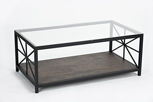 Metal Frame Cocktail Coffee Table With Lower Shelf Coffee Table