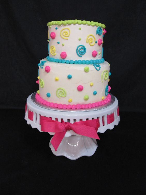 Swirls and Polka Dot Tiered Birthday Cake by The Twisted Sifter