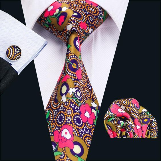 Men`s Ties Floral Pink 100% Cotton Fashion Print Neck Tie Hanky Cufflink Set Ties For Men Business Wedding Party