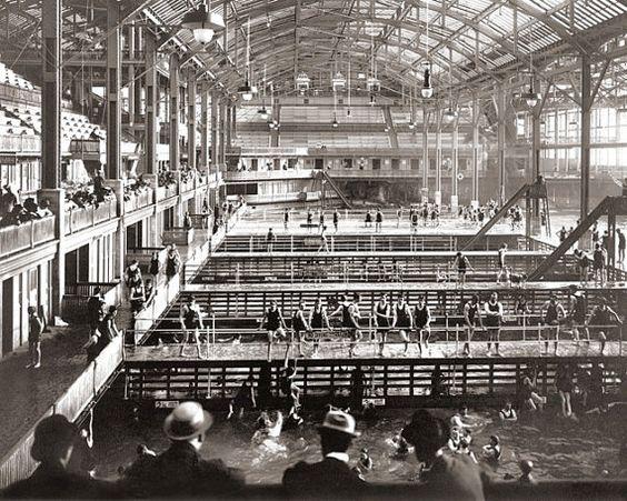 Victorian San Francisco Sutro Baths Men Swim Swimming