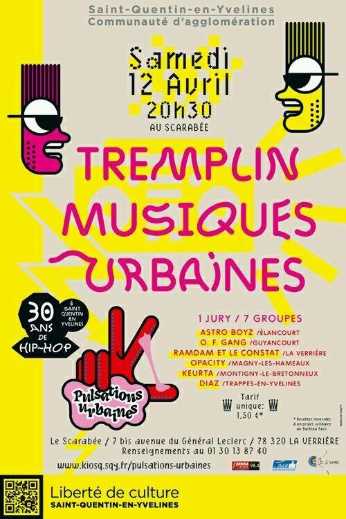 Tremplin Musiques urbaines. Le samedi 12 avril 2014 à Saint-Quentin-en-Yvelines.  20H30