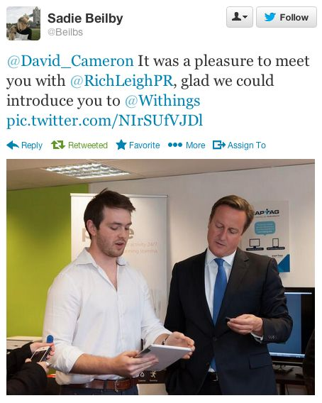 """Sadie Beilby (twitter.com/Beilbs) tweeted: """" David_Cameron It was a pleasure to meet you with RichLeighPR, glad we could introduce you to Withings pic.twitter.com/NIrSUfVJDl """" Learn more: http://www.withings.com/en/pulse"""