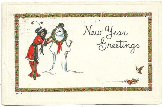 1918 Vintage New Years Day Postcard Pixie Girl by imagesofthepast