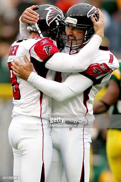 Kicker Jason Elam Of The Atlanta Falcons Celebrates A 53 Yard Field Goal With Holder Michael Koenen Against The Green Bay Packer Atlanta Falcons Atlanta Kicker