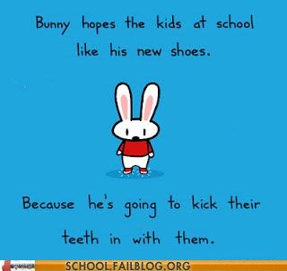 Such a cute bunny, such a violent nature!