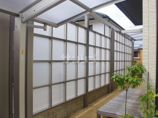目隠しパネルフェンス テラス屋根の設置工事です 高さのあるフェンス