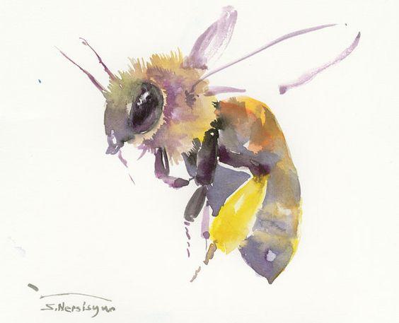 """Honey Bee, flying bee, Bee art 10"""" X 8 in original one of a kind watercolor art, honey bee watercolor art"""