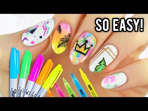 202 5 Easy Nail Art Designs Using Sharpie Markers Youtube Sharpie Nail Art Simple Nail Art Designs Cute Nail Art Designs