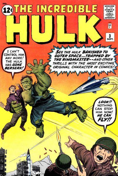 "Incredible Hulk #3 - the Hulk can ""fly""! Art by Jack Kirby. #Hulk #JackKirby"