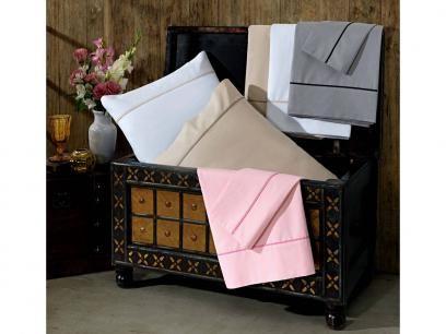 Jogo de Cama / Lençol Queen Size Comfort - 4 Peças 200 Fios Artex - Rosa com as…