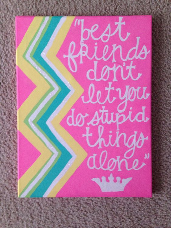 Friend Quotes On Canvas : Best friends quote canvas painted with colorful chevron