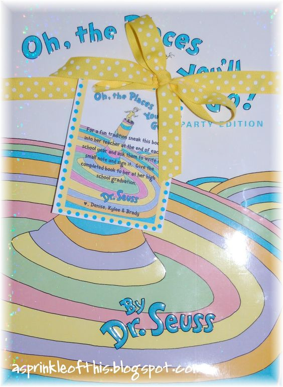 "Have your child's teacher sign the book ""Oh The Places You'll Go"" at the end of each school year and then give it to him or her at their graduation.  Also makes a great baby shower gift!!"