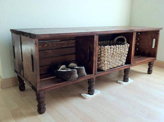 Crates Wooden Bench With Storage And Wine On Pinterest
