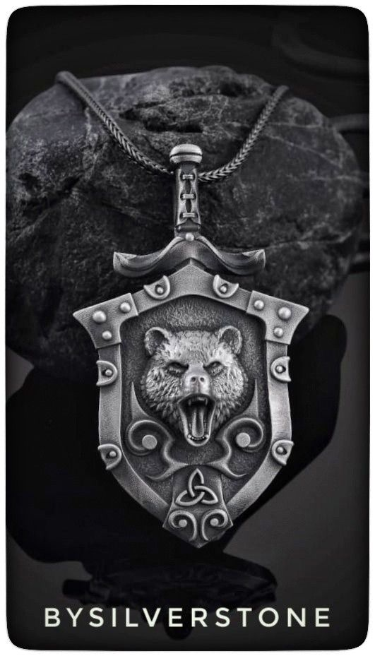 3 Silver 3D Bear W// Flower Charms Pendant 2 Sided