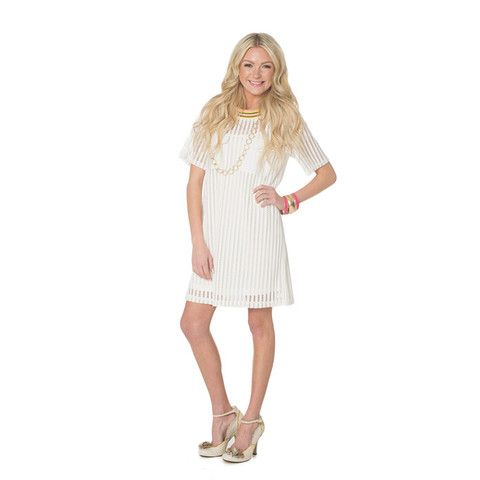 English Factory Cream Mesh Dress with Menswear Sports Collar -   -  Sophie May Clothing  - 1