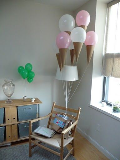 Wow! paper cones on balloons to make ice cream cone balloons!!