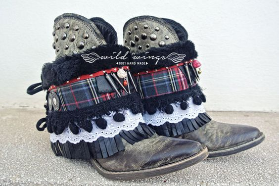 Cover boots rock and punk Fringe Boot por WildWingsBoots