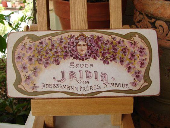 vintage French soap/savon Iridiapurple flower by shabbyfrenchstyle