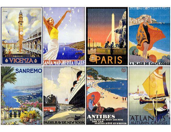 Vintage Travel Posters ... from a golden era of travel to Santa Margherita, Vincenza, Paris, Lyon, San Remo, Antibes .... Digital downloadable file on Etst