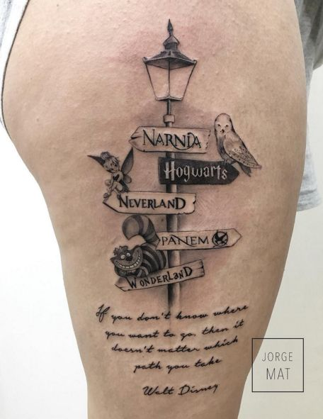 Love this literary tattoo. Though, the quote on the bottom is actually paraphrased from Alice in Wonderland, not Walt Disney. I could do without the Wonderland since I'm not a Alice fan. Wonder what I could put in it's place...: