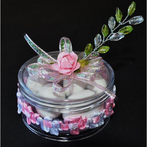Contenedor redondo transparente para dulces o regalitos * Fav_099 * $1.85 www.centrosdemesasyrecuerdos.com