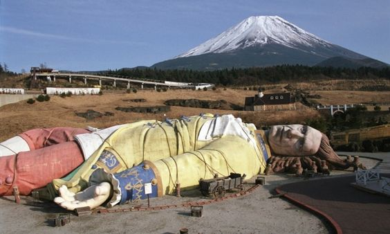 The rotting ruin of a giant Gulliver being captured by the people of Lilliput at Japan's dormant Gulliver's Kingdom. The theme park, based on Jonathan Swift's novel Gulliver's Travels, was built near Mount Fuji close to Aokigahara forest, a place associated in Japanese mythology with demons and a popular place to commit suicide.