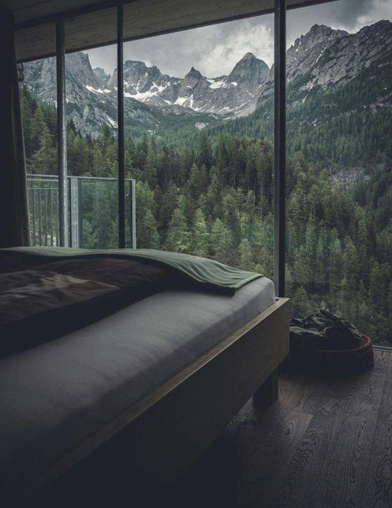 Waking up with a view of pines and the mountains