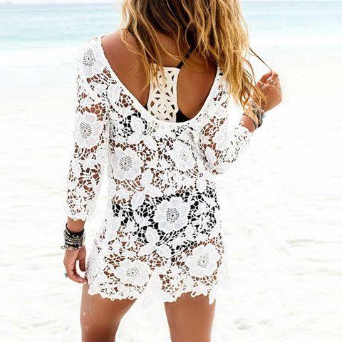 Women Lace Crochet Tassel Cover Up Bikini Swimwear Bathing Suit #bathing suit cover