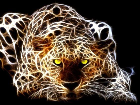 Fractal Crouching Leopard - Totem Talk