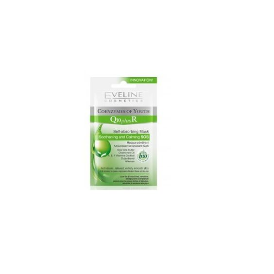 Eveline Self Absorbing Mask Soothening And Calming SOS Q10 Plus Coenzymes Of Youth 10ml Cosmetiques Online