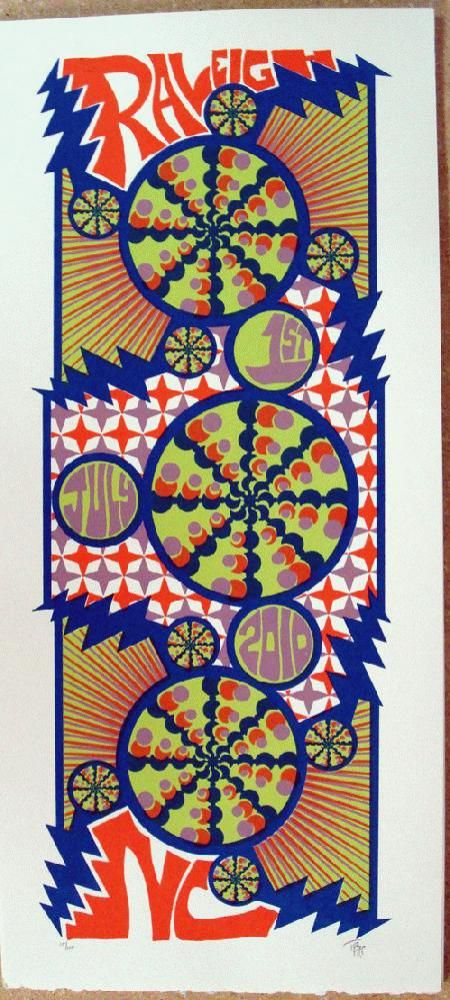 Original silkscreen concert poster Phish in Raleigh North Carolina in 2010. 10 x 21 inches. It is printed on Watercolor Paper with Acrylic Inks. The poster is signed and numbered out of 100 by the artist Tripp.