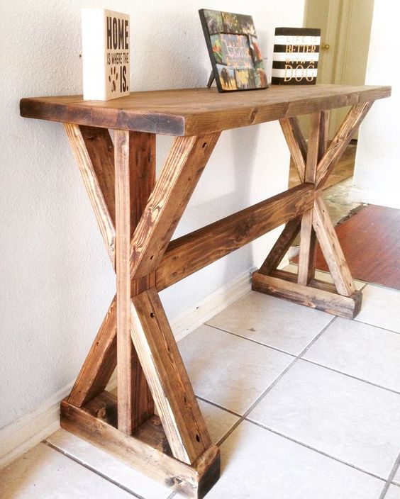 Rustic x entryway table do it yourself home projects for Do it yourself home projects