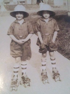 Vintage 1940s Twins Snapshot Photograph Twin Boys on Roller Skates