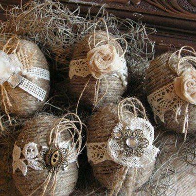 Love these!  Get large plastic eggs and decorate, put in rustic basket with   brown shredded paper.