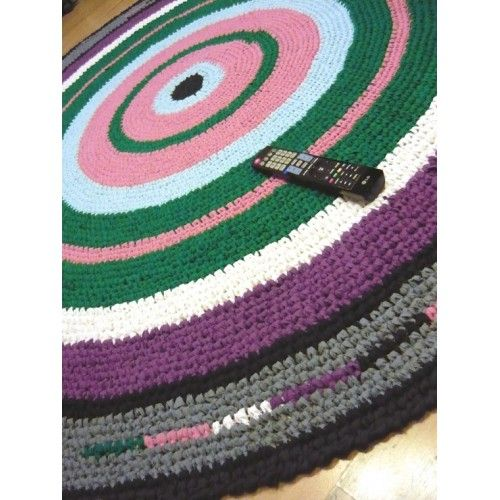 7 ft Round Crochet Rag Rug, Made-to-order, Custom colors, NEW cotton fabric