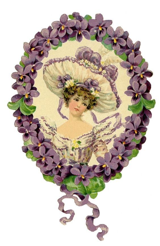 Romantic Lady Floral Wreath Images