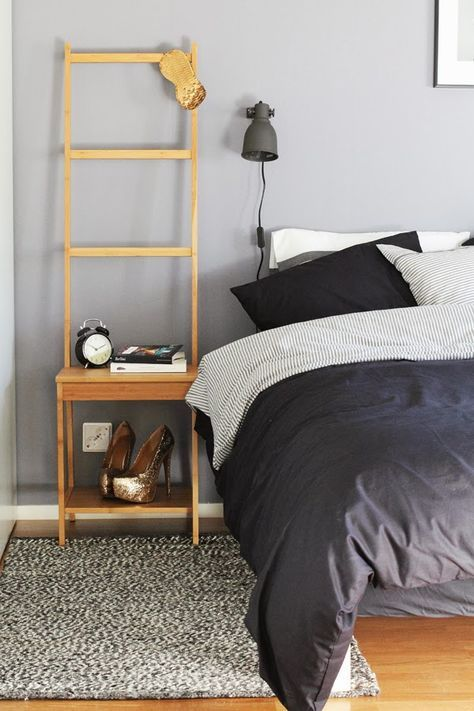 RÅGRUND towel rack as nightstand £35   http://www.ikea.com/gb/en/catalog/products/90253074/ Assembled size Width: 39 cm, Depth: 44 cm, Height: 140 cm