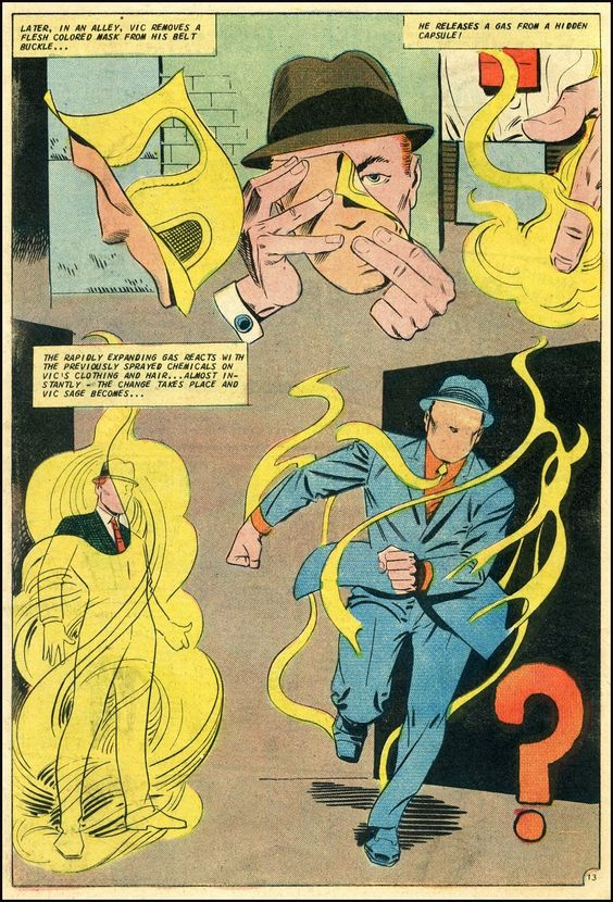 Vic Sage becomes... ? Steve Ditko page from Mysterious Suspense #1 (1968).