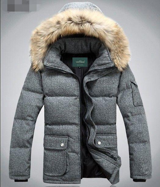 Mens fur hooded down parka