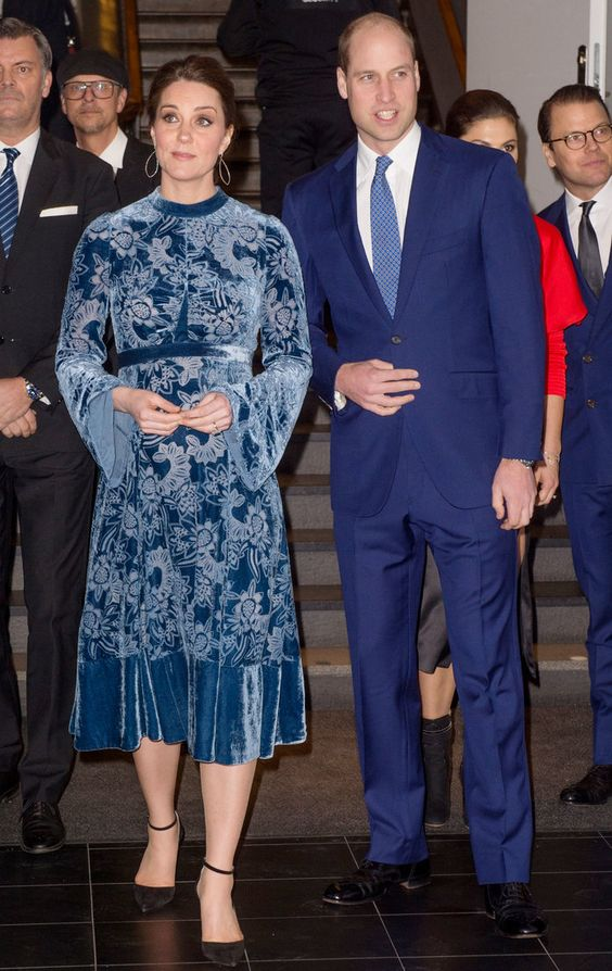 Did Kate Middleton Get a Fashion Makeover? Her Blue Velvet Dress Points to Yes | Pregnant Kate Middleton's date night style has been changing lately, and she's taking some serious fashion risks. See her latest midi length blue velvet dress here.