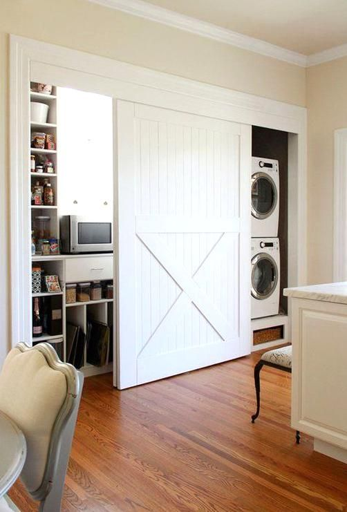 Barn Door With Concealed Hardware 10 Barn Doors In The Kitchen Kitchen Inspiration In 2020 Sliding Closet Doors Old Closet Doors Laundry Closet Makeover