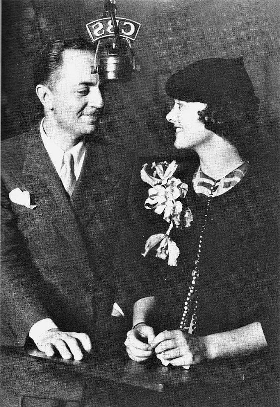 William Powell and Myrna Loy during a 1934 radio broadcast.