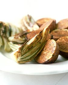 Preheat the roasting pan to give the vegetables a crisp, golden crust.
