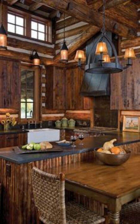 Rustic cabin kitchens cabin kitchens and rustic cabins on for Rustic lake house kitchens