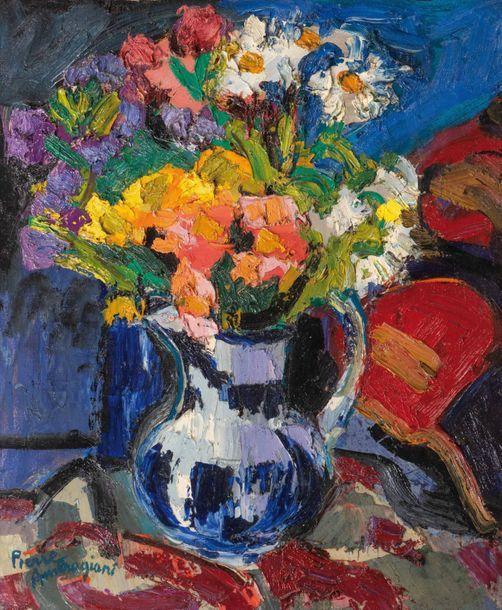 Pierre AMBROGIANI (1907-1985) Pichet bleu et blanc, c. 1960. Huile sur  toile. Signée en bas à gauche. 73 x 60 cm. Blue and white pit… | Art, Old  things, Painting