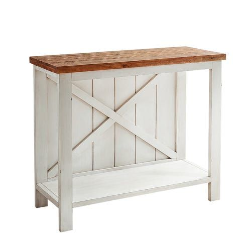 Farmhouse White Small Console Table Small Console Tables Interior Design Rustic Small Living Room Design