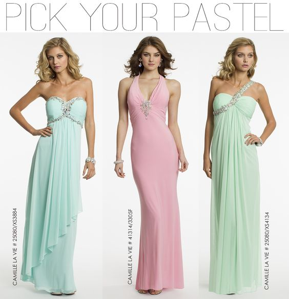 Blue, Pink and Green Pastel Prom Dresses by Camille La Vie