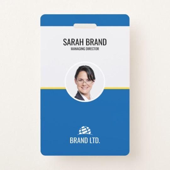 Professional Business Employee Id Badge Zazzle Com Dengan