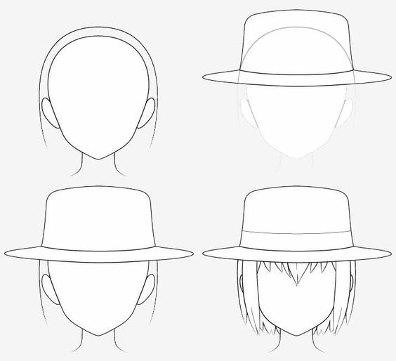 Vẽ mũ phớt anime